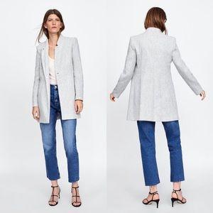 Zara Inverted Lapel Herringbone Jacket XL